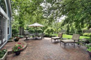 Backyard Landscaping – An Important Area To Landscape Chicago Brick patio with table umbrella and chairs
